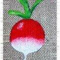 Radis accrylique sur toile de lin !