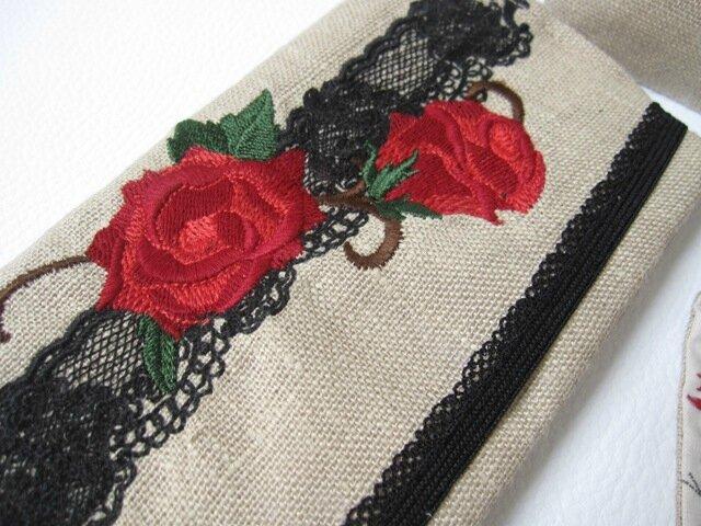 ensemble lin brodé dentelle et fleurs 023