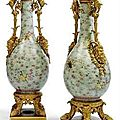 A pair of empire ormolu-mounted chinese porcelain baluster vases, the porcelain jiaqing period (1796-1821)