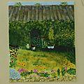 J'ai aimé faire cette petite maison derrière son modeste jardin. Si je devais la refaire, je m'appliquerai davantage sur le premier plan.