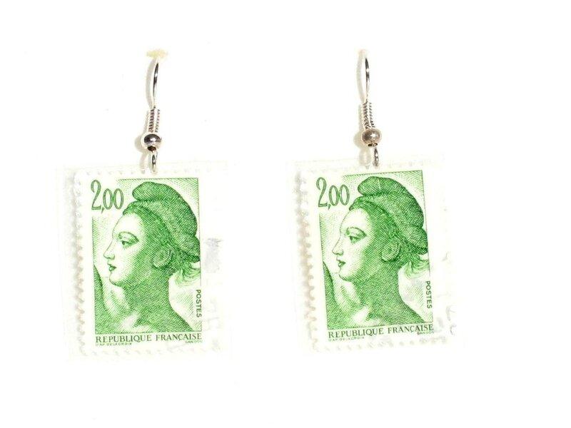boucles d'oreilles timbres mariannes vertes2
