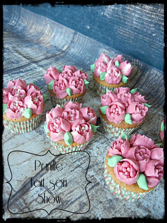 cupcakes roses framboise barbe papa prunillefee