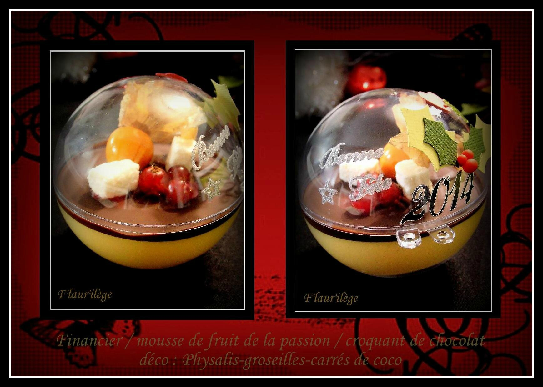 Dessert de noel dans boule