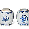 Two blue and white ovoid jars, kangxi period (1662-1722)