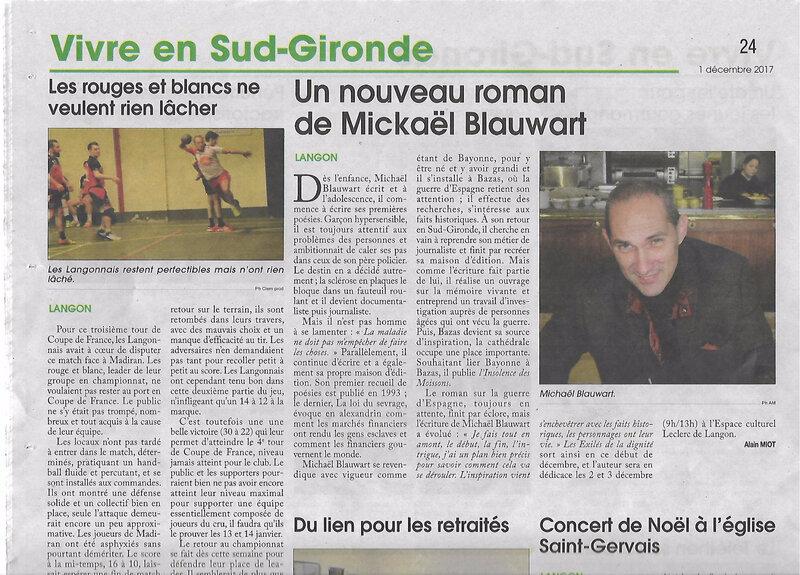 Le nouveau roman de Michaël Blauwart