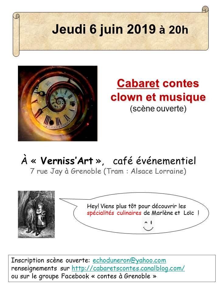 """jeudi 6 juin 2019 à 20 heures: cabaret au café """"Verniss'art"""""""