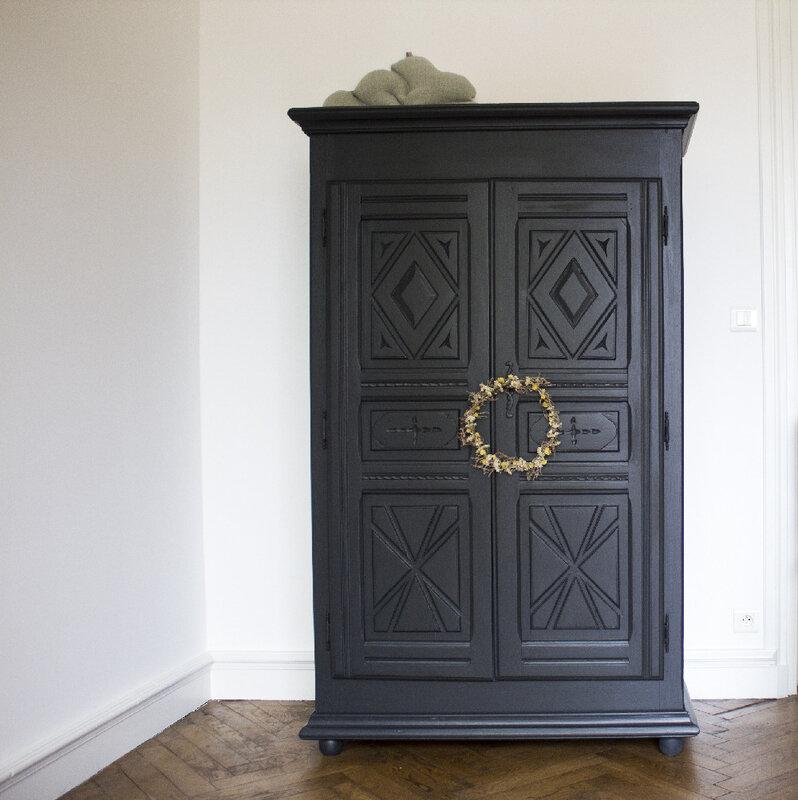 armoire vintage chambre enfant noir saumon TRENDY LITTLE 2