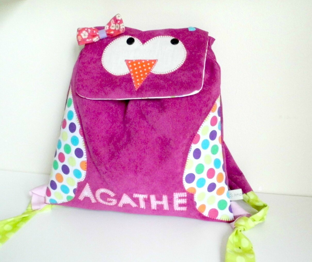 Le sac à dos hibou d'Agathe