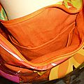 sac transparent fleur doublure orange