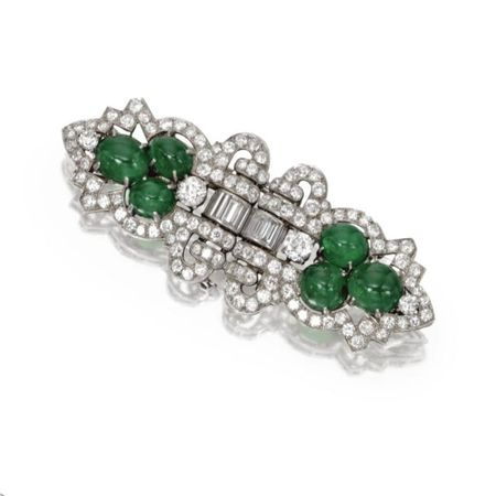 Platinum__Emerald_and_Diamond_Double_Clip_Brooch__Circa_1930