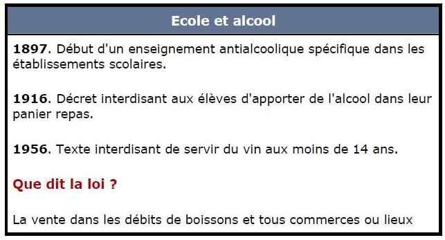 ecole et alcool