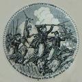 Série «expédition du tonkin», décor n°9. les turcos dans les obstacles de bambous à phu-xa (prise de son-tay), xbre 1883.