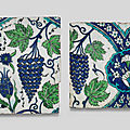 Two damascus underglaze-painted pottery tiles, syria, circa 1575-90