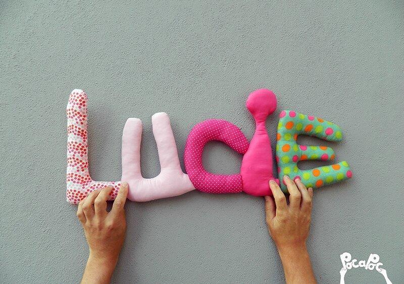 lucie,mot en tissu,mot decoratif,cadeau de naissance,decoration chambre d'enfant,cadeau personnalise,cadeau original,poc a poc blog