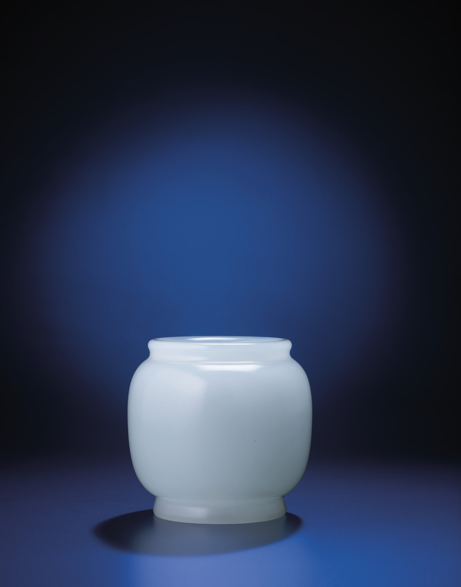A clair-de-lune glass jar, Yongzheng incised four-character mark within double-squares and of the period (1723-1735)