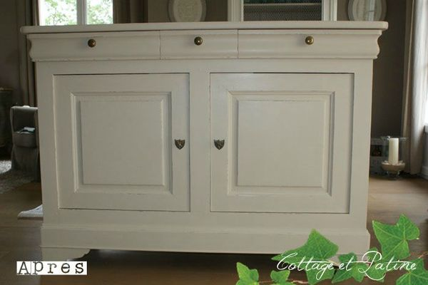 Buffet bas louis philippe avant apr s cottage et patine le blog - Meuble couleur argile ...