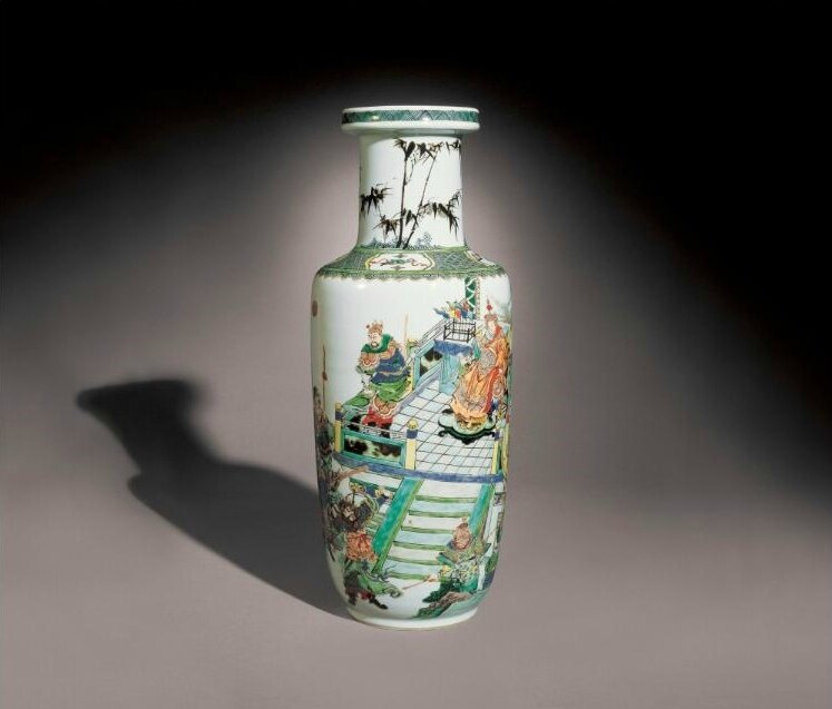 A famille-verte rouleau vase, Qing dynasty, Kangxi period (1662-1722)