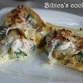 Egg boat aux allumettes de jambon, épinards et champignons