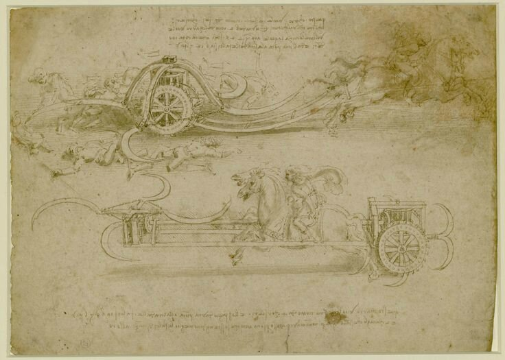Leonardo Da Vinci, University of assault chariots armed with scythes, 1482 - 1485 ac