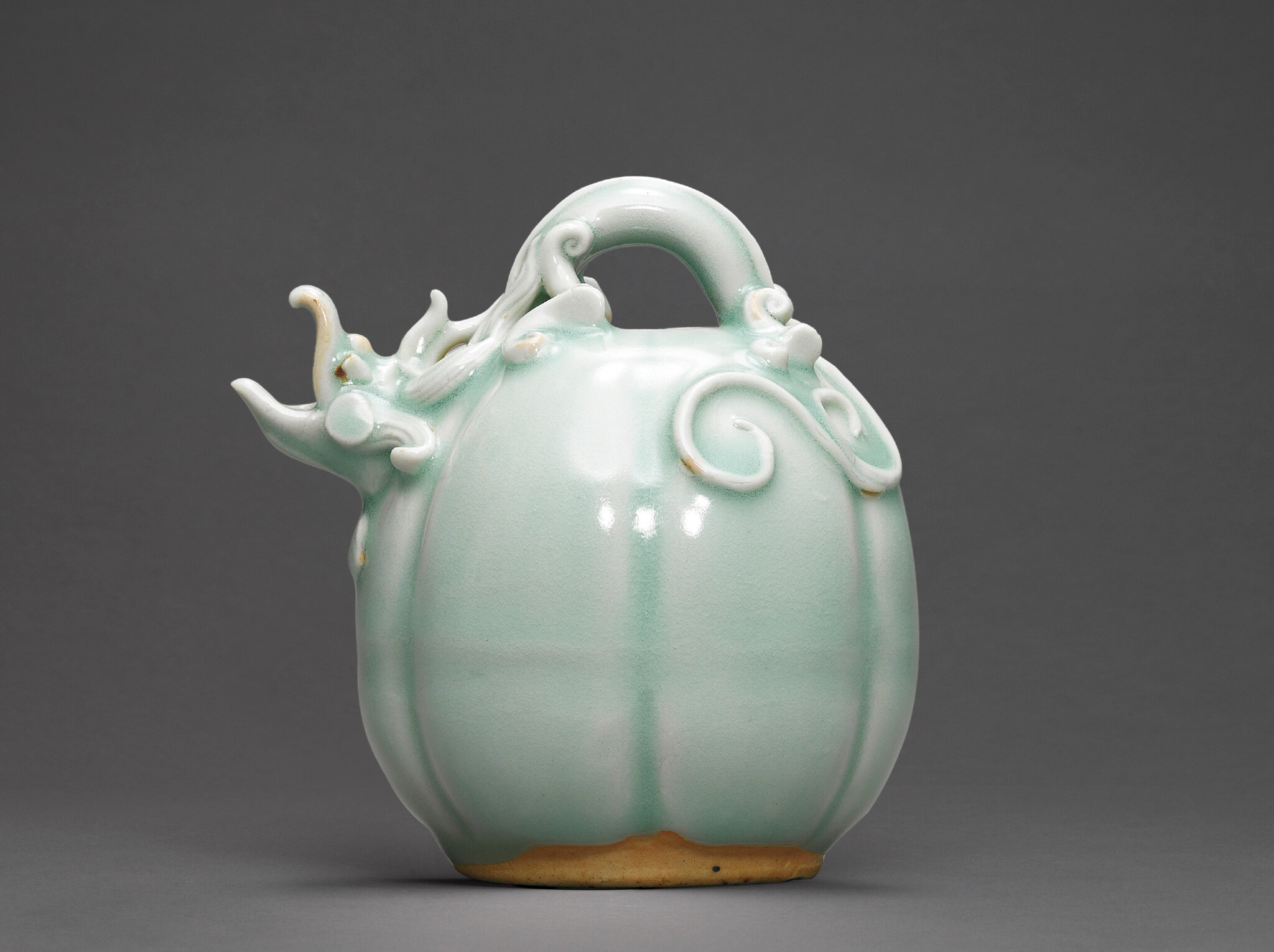 A fine and rare moulded melon-form Qingbai ewer, Song dynasty (960-1279)