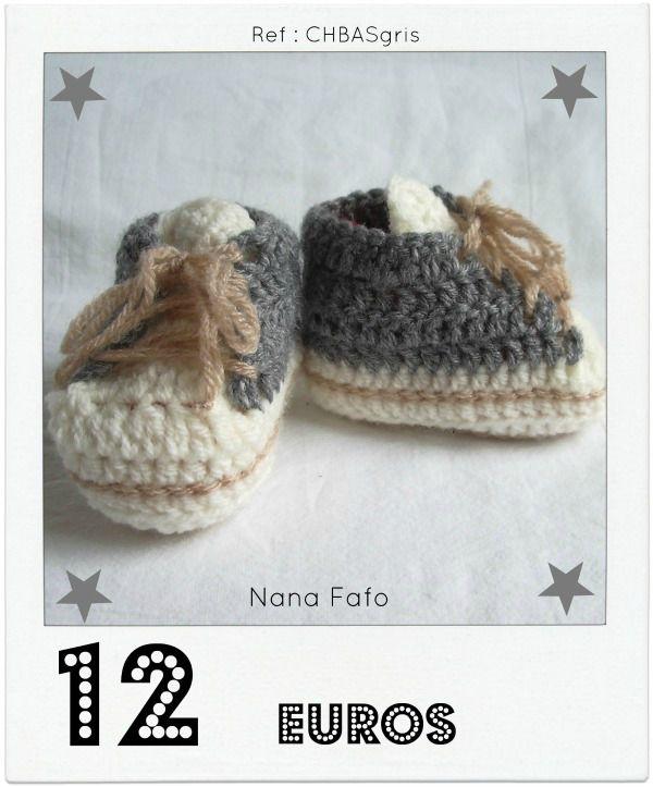 Chaussons bébé crochet basket gris2