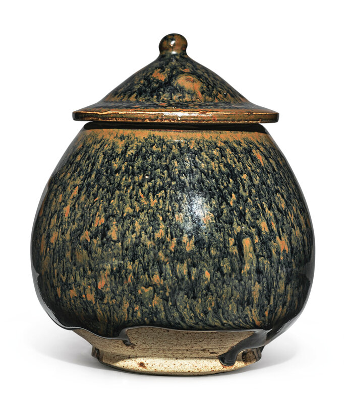 A russet-splashed 'partridge feather' lotus bud-form jar and cover, Northern Song-Jin dynasty