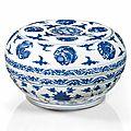 Grande boîte couverte en porcelaine bleu blanc, chine, dynastie ming, xvième-xviième siècle