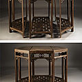 A rare jichimu octagonal three-part composite table, yueyazhuo, qing dynasty, 18th century