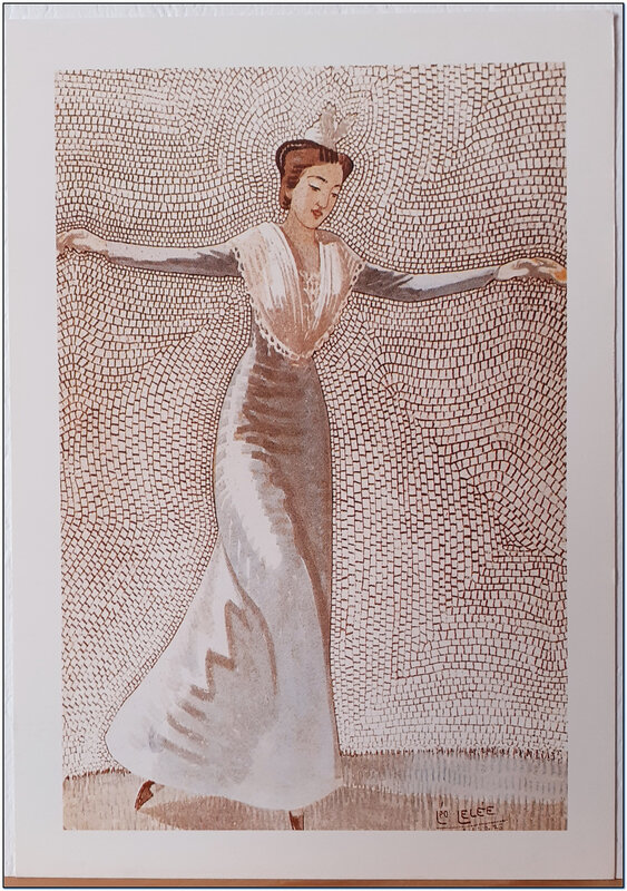 Léo Lelée - Pas de danse d'une Tanagra d'Arles sur fond de mosaique - années 30
