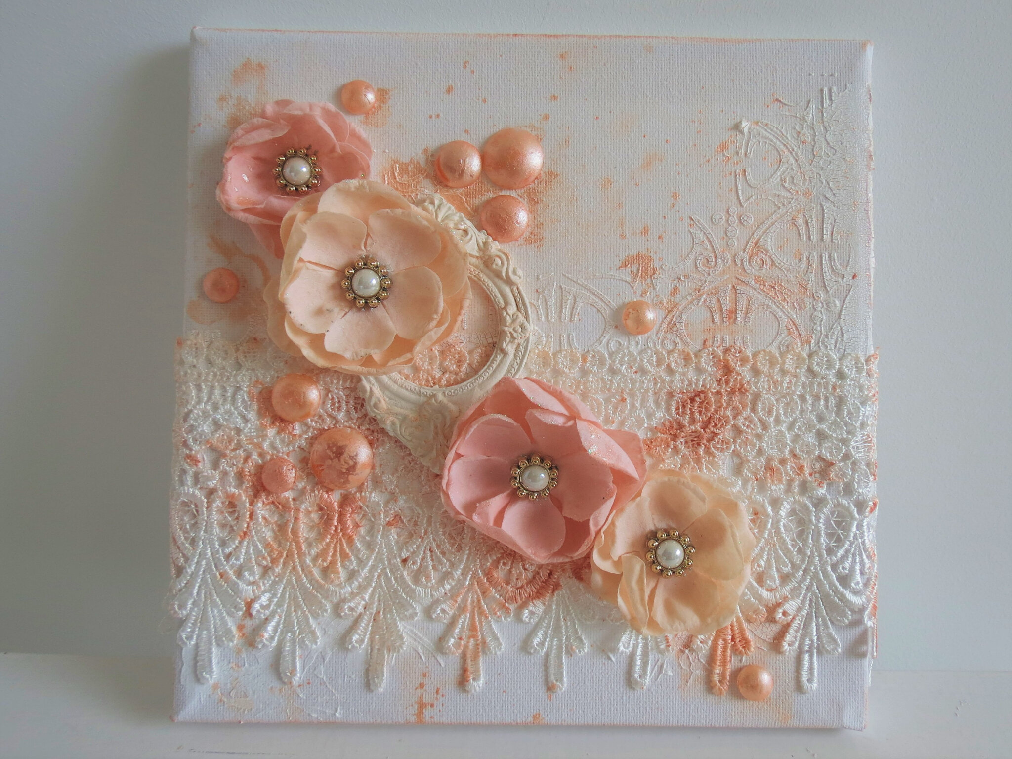 "Full photo tutorial : mini canvas ""Peach bloom"""