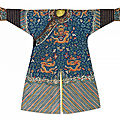 A blue embroidered 'dragon' robe (jifu), qing dynasty, 19th century