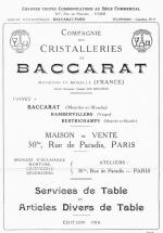 Baccarat 1916 arts de la table
