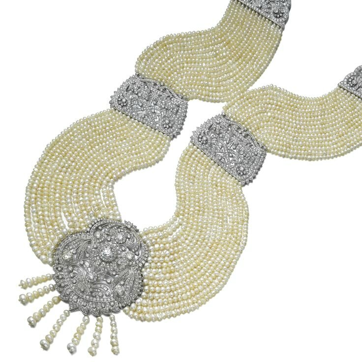 Natural pearl, cultured pearl and diamond necklace