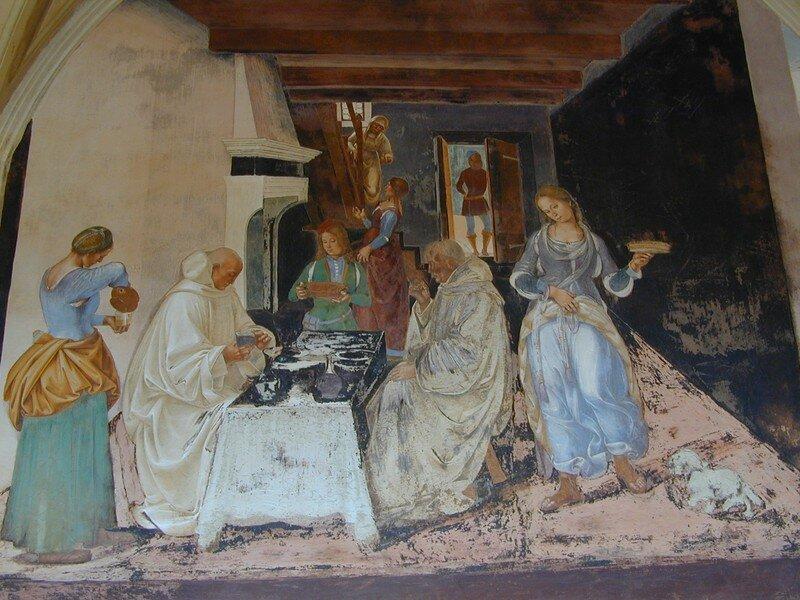 Benoît dit aux moins où et quand ils ont mangé hors du monastère