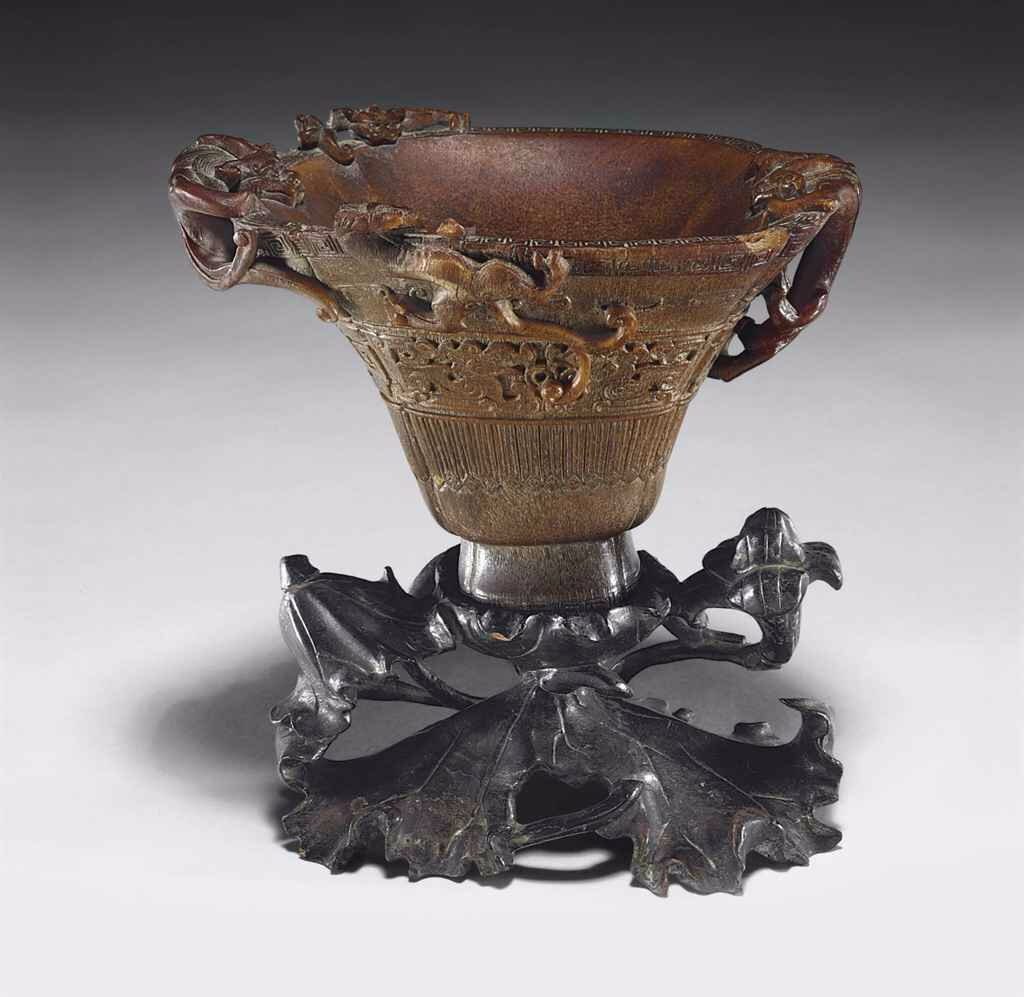 A well-carved rhinoceros horn cup, 17th-18th century
