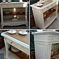 Ancien buffet patiné blanc