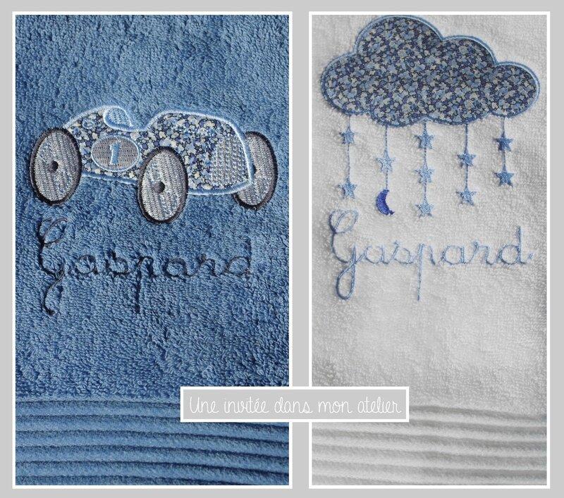 Serviette de douche personnalisée- serviette de toilette personnalisée-Liberty pepper bleu