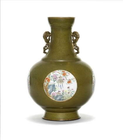 A very rare Imperial teadust-ground famille rose vase, Qianlong seal mark and of the period