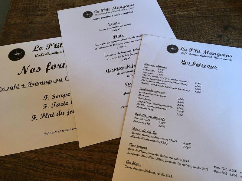 le P'tit Mangeons café cantine culturel bio et local Avranches menu carte