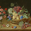 Jacob van hulsdonck, a still life with a vase of carnations and a basket of peaches, plums, black and white grapes, and cherries