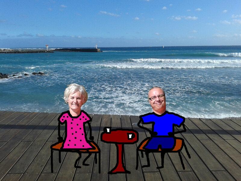Nanoug et Michel devant la mer