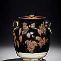 A black-glazed 'partridge feather' jar and cover, northern song dynasty (960-1127)
