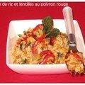 Salade de riz et lentilles au poivron rouge