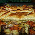 Seitan en croute feuilletée, sa farce aux chataignes et cèpes et ses légumes rotis