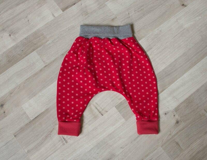 Legging sarouel évolutif bébé jersey rouge étoilé ceinture grise