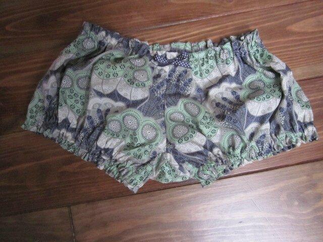 Culotte en coton Véritable Liberty imprimé gris écru vert - taille S