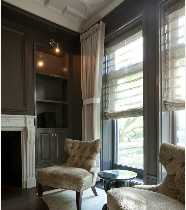a-soft-beige-suede-curtain-fabric-for-glamorous-living-room-with-built-in-bookshelf-and-velvet-chairs-and-classic-round-table