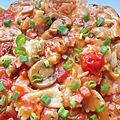 Farfalle au jambon et tomates, cuisson en sauce {au cooking chef}