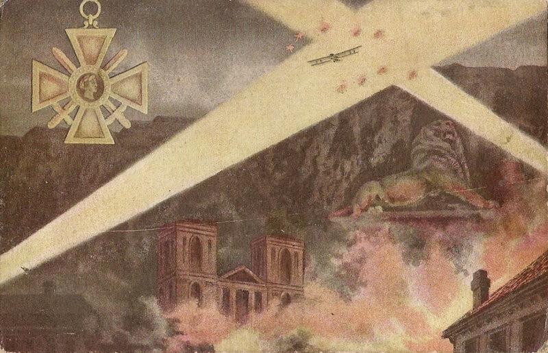 1920 07 04 Belfort CPA 3 Croix de guerre Illustration