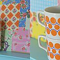 Tasses à pois orange